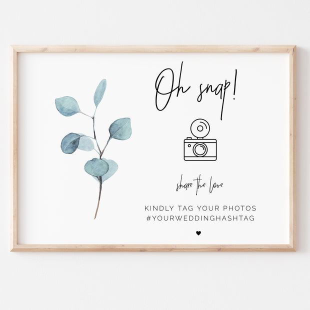 SARA | Eucalyptus Wedding Snapchat Sign - MakeMeDigital