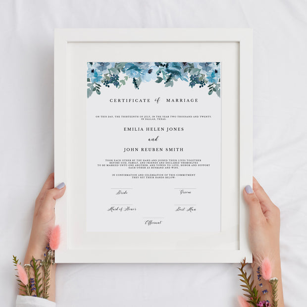 Blue Floral Marriage Certificate