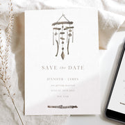 Bohemian Windchime Save the Date Invitation & Evite