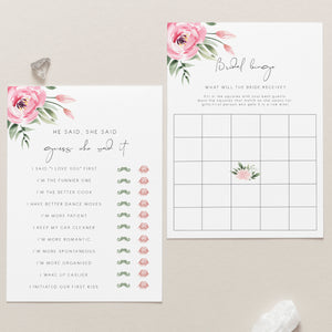 Serena Pink Peony Bridal Shower Games (Set of 4) - MakeMeDigital
