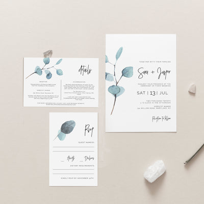Sara Eucalyptus Wedding Invite Set of 3 - MakeMeDigital