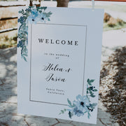 Blue Floral Wedding Welcome Sign