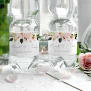 Pink Hydrangea Wedding Water Bottle Labels - MakeMeDigital