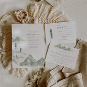 Elegant Mountain Wedding Invitation Set of 3