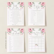 Serena Pink Peony Baby Shower Games Set of 4 - MakeMeDigital