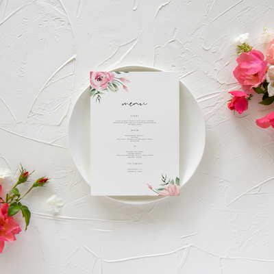Serena Pink Peony Wide Menu - MakeMeDigital