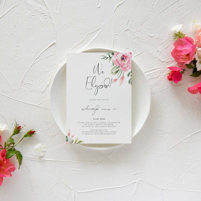 Serena Pink Peony We Eloped Invite - MakeMeDigital