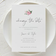 Serena Pink Peony Change the Date Invite - MakeMeDigital
