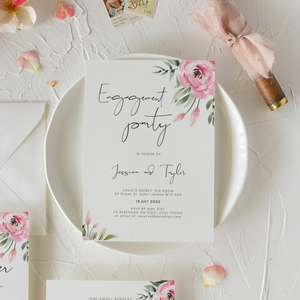 Serena Pink Peony Engagement Party Invite - MakeMeDigital