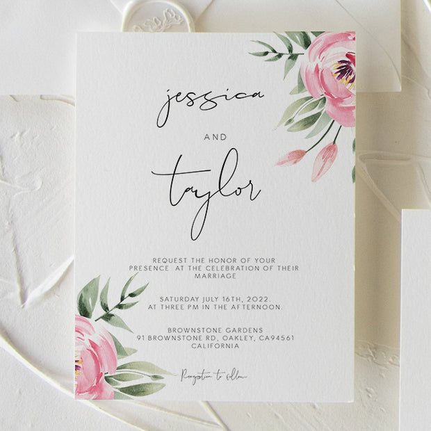 Serena Pink Peony Wedding Invitation Single - MakeMeDigital