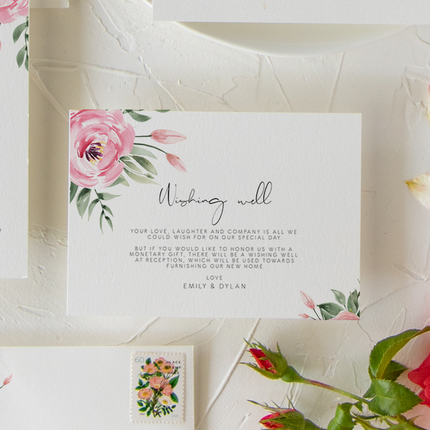 Serena Pink Peony Wishing Well Card - MakeMeDigital