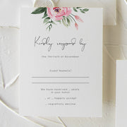 Serena Pink Peony Wedding Rsvp Card - MakeMeDigital
