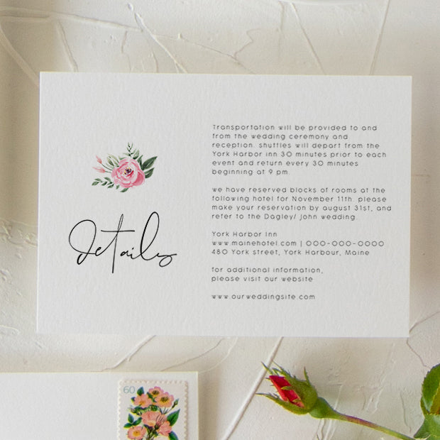 Serena Pink Peony Wedding Details Card - MakeMeDigital