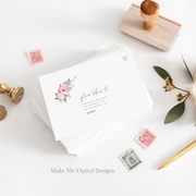 Serena Pink Peony Wedding Envelope Template - MakeMeDigital