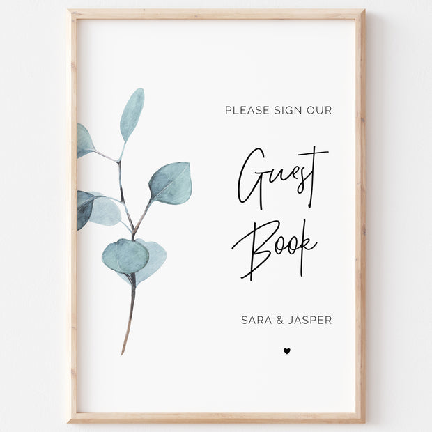 SARA | Eucalyptus Guest Book Sign - MakeMeDigital