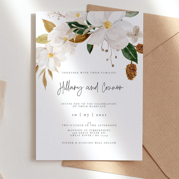 White Magnolia Wedding Invitation Set of 3