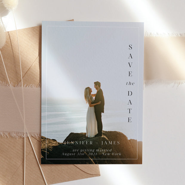 Makenna Minimalist Save the Date Photo Card - MakeMeDigital