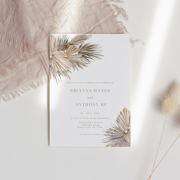 Brianna Boho Wedding Invitation Single - MakeMeDigital