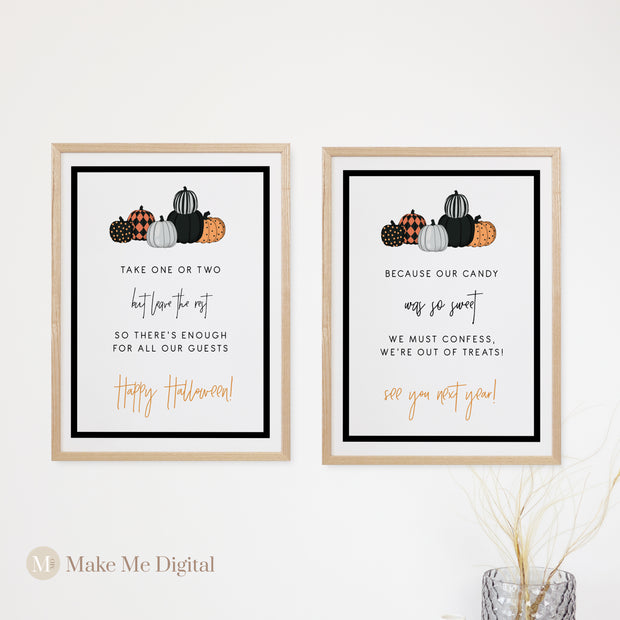 HALLOWEEN | Pumpkin Trick or Treat Welcome Sign - MakeMeDigital