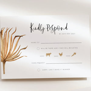 Savanna Pampass Grass RSVP Card - MakeMeDigital