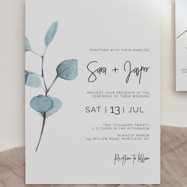 Sara Eucalyptus Wedding Invite - MakeMeDigital