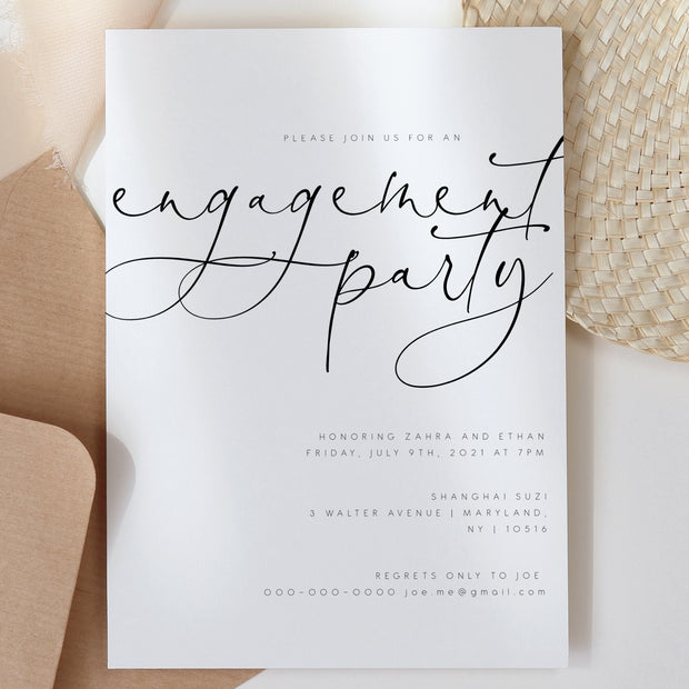 Contemporary Engagement Party Invitation