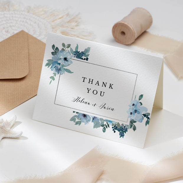 Blue Floral Thank you Cards