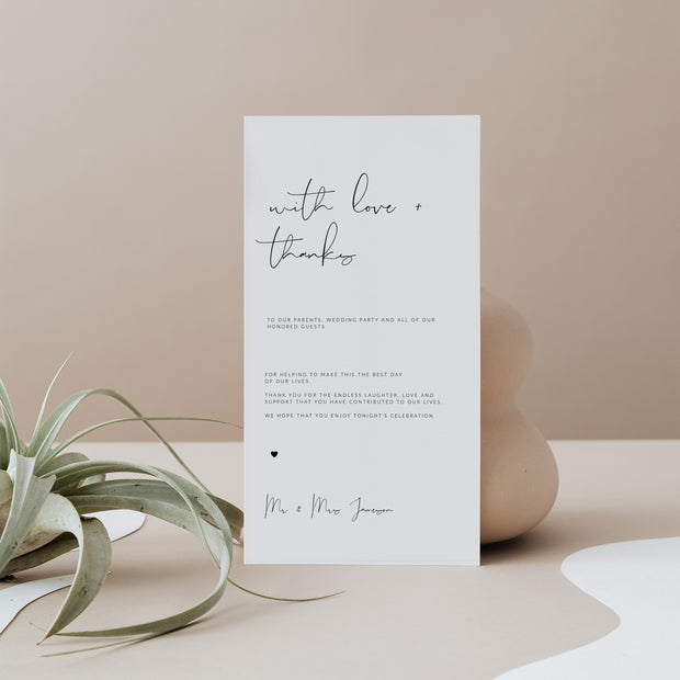 Elegant Wedding Table Thank you Cards