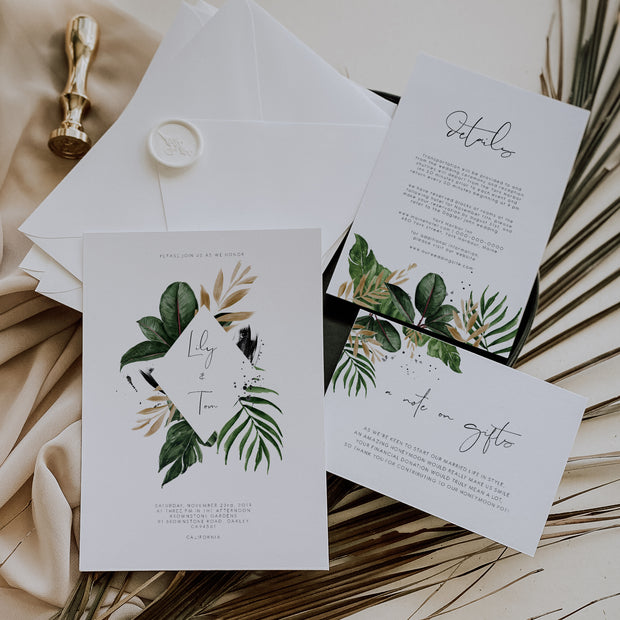 Tropical & Gold Wedding Invitation Set with Honeymoon Card