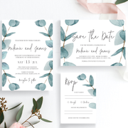 Nala Blue Eucalyptus Invitation Set of 3 with Save the Date - MakeMeDigital