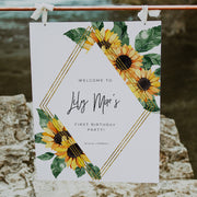 Sunflower First Birthday Welcome Sign