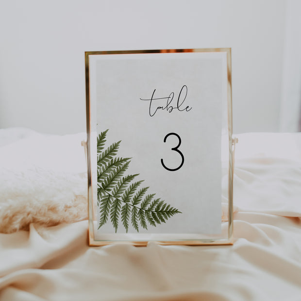 Watercolour Fern Table Number