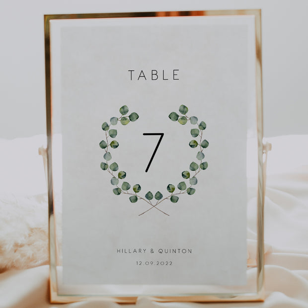 Silver Dollar Eucalyptus Table Numbers