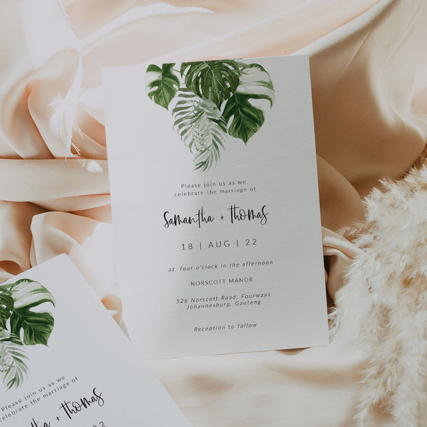 ZURI | Minimal Tropical Wedding Invitation - MakeMeDigital