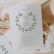 Silver Dollar Eucalyptus Wedding Invitation Single