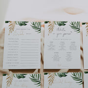 Tropical & Gold Bridal Shower Game Set of 6