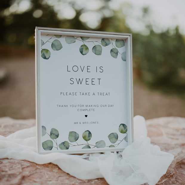 Silver Dollar Eucalyptus Love is Sweet Sign