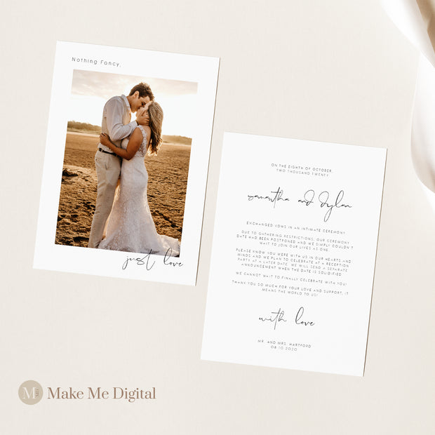 Elegant Wedding Elopement Announcement - MakeMeDigital