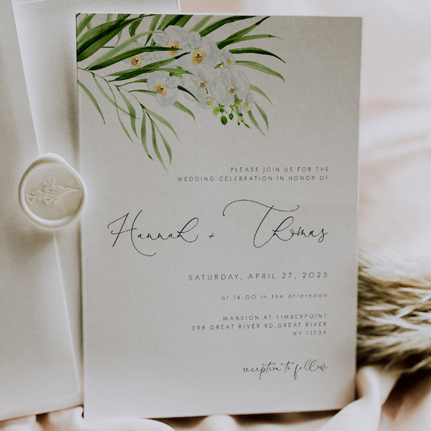 White Orchid Wedding Invitation set of 3