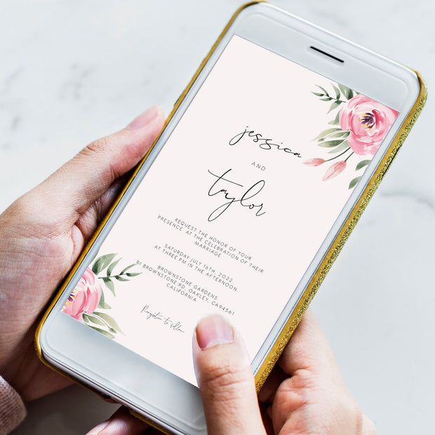 Serena Pink Peony Wedding Invitation Evite - MakeMeDigital