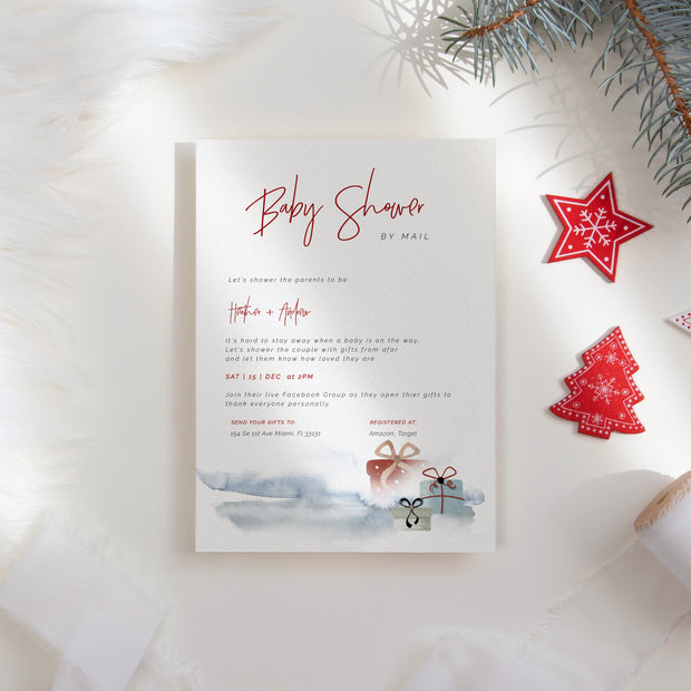Cute Gifts Christmas Baby Shower by Mail Invitation