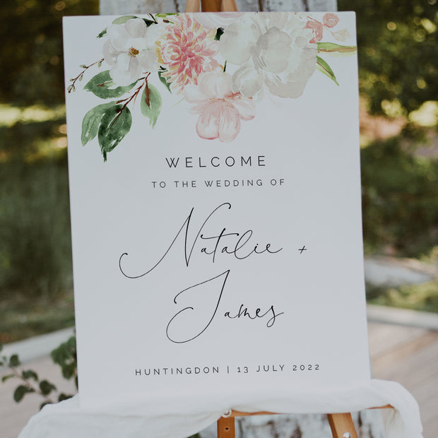 Blush Pink & White Floral Wedding Welcome Sign
