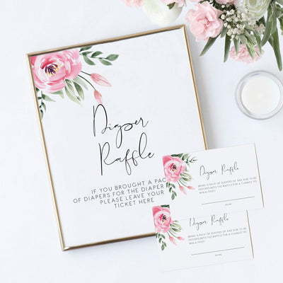 Serena Pink Peony Diaper Raffle and Cards - MakeMeDigital