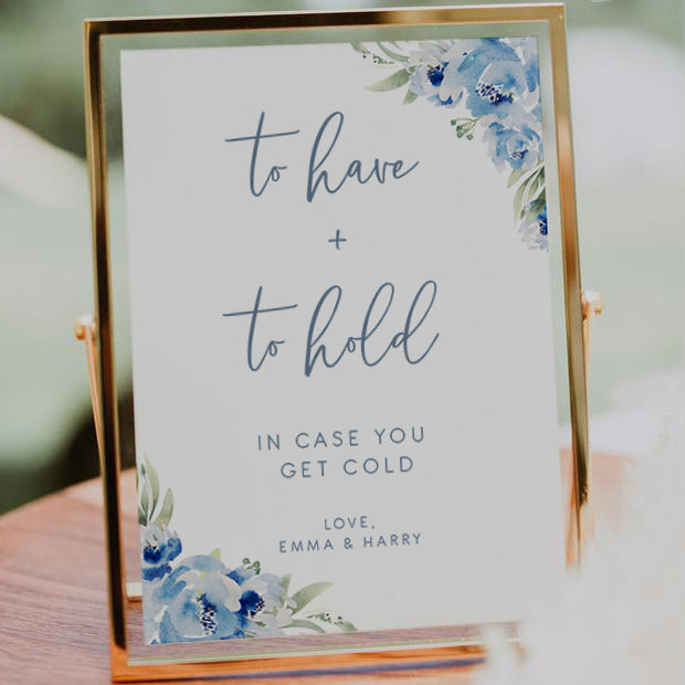 Dusky Blue Floral To Have and To Hold Sign
