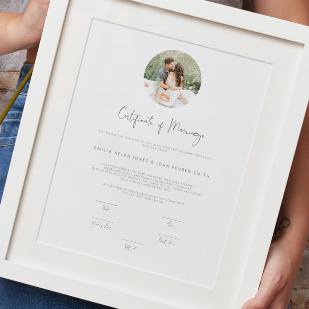 Elegant Marriage Certificate Keepsake Sign
