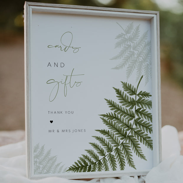 Watercolour Fern Cards and Gifts Sign