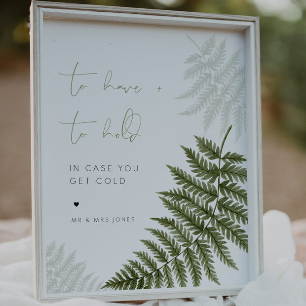 Watercolour Fern Wedding To Have & To Hold Sign