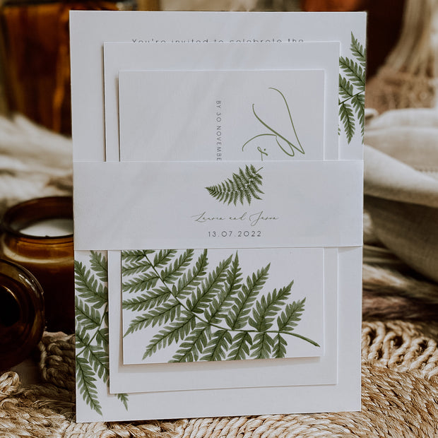 Watercolour Fern Belly Band for Invitations