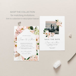 Pink Hydrangea Wedding Straw Flags - MakeMeDigital