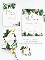 JOJO | Tropical Baby Shower Invitation Printable palm leaf Baby Shower Invite Template, Details Card, Books for Baby, Instant Download 119 - MakeMeDigital